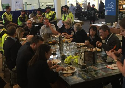 The Queenstown Airport Community enjoys the start of Airport Safety Week at Airspresso Café.