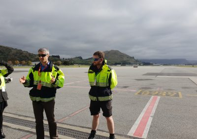 Dan Kirkman and Bill Malone leading the annual FOD walk and Apron tour during Airport Safety Week